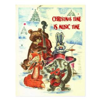 Vintage Kerstmis, Dieren Muziekband Briefkaart