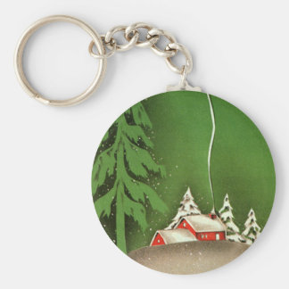Vintage Kerstmis, Huis in de BosSneeuw van de Sleutelhanger