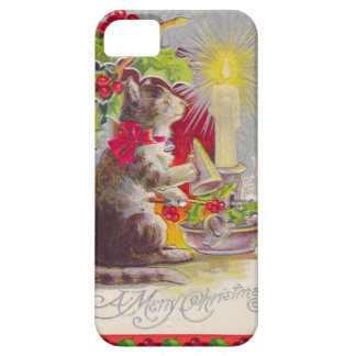 Vintage Kerstmis, Kat onder decoratie Barely There iPhone 5 Hoesje