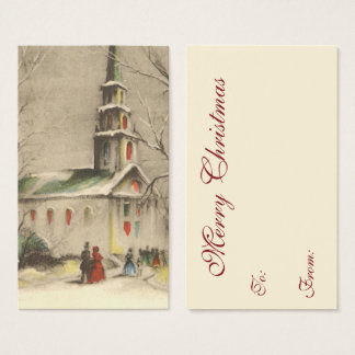 Vintage Kerstmis, Kerk in de Winter Snowscape Visitekaartjes