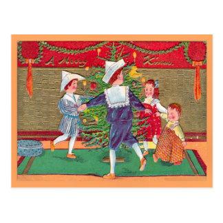 Vintage Kerstmis, kinderen Edwardian het dansen Briefkaart
