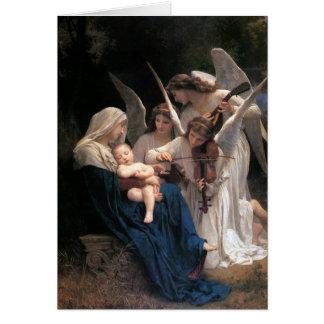Vintage Kerstmis, Lied van Engelen door Bouguereau Wenskaart