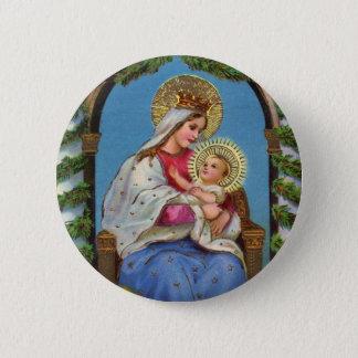 Vintage Kerstmis Maagdelijke Mary Baby Jesus Ronde Button 5,7 Cm