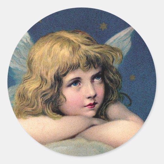 Vintage Kerstmis, Mooie Engel met Gouden Sterren Ronde Stickers