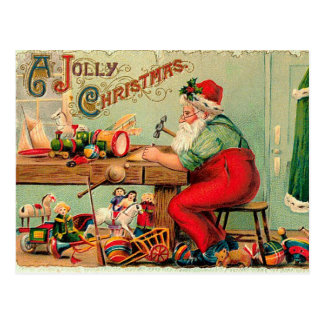Vintage Kerstmis op de Workshop van de Kerstman Briefkaart