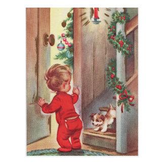 Vintage Kerstmis Themed van het Kind en van het Briefkaart