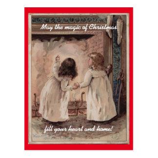 Vintage Kerstmis van Kinderen Briefkaart