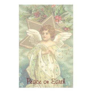 Vintage Kerstmis, Victoriaans Engel met Gouden Briefpapier