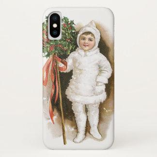 Vintage Kerstmis, Victoriaans Meisje met Hulst iPhone X Hoesje