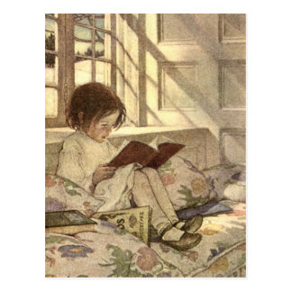 Vintage Kind die een Boek, Jessie Willcox Smith Briefkaart