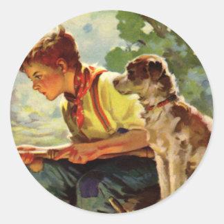 Vintage Kind, Jongen die met Zijn Straathond van Ronde Sticker