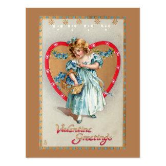 Vintage Kind met het Hart van Valentijn Briefkaart