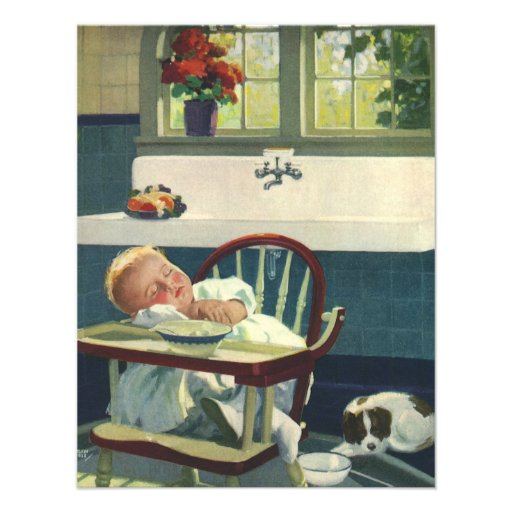 Vintage kinderen baby die keuken highchair slapen 10 8x13 9 uitnodiging kaart zazzle - Gepersonaliseerde keuken ...