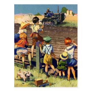 Vintage Kinderen die aan Lokale Landbouwer op Briefkaart