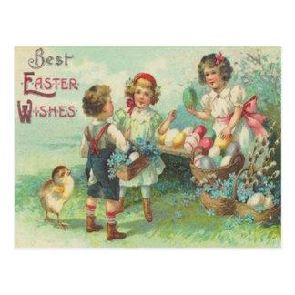 Vintage Kinderen met De Kaart van Pasen van Briefkaart