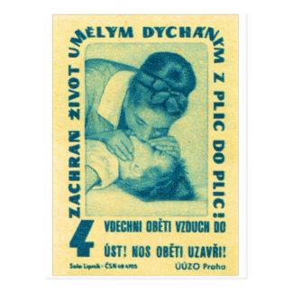 vintage Kitsch CPR Mond aan Mond Tsjechische Briefkaart