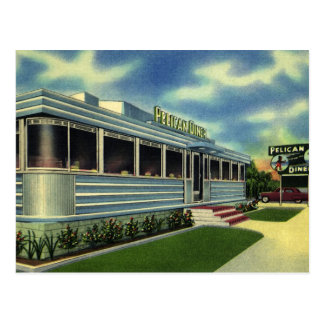 Vintage Klassieke Diner van de Pelikaan van het Briefkaart