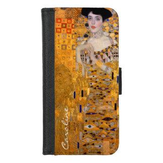 Vintage Klimt Adele Portrait met Uw Naam iPhone 8/7 Portemonnee Hoesje