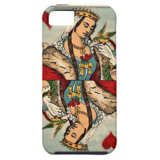 Vintage Koningin van de Speelkaart van Harten Tough iPhone 5 Hoesje