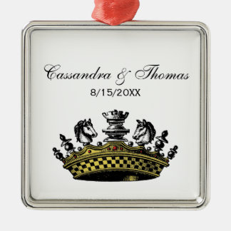 Vintage Kroon met De Kleur van Schaakstukken Zilverkleurig Vierkant Ornament