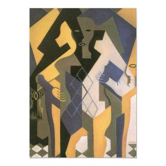 Vintage Kubisme, Harlekijn bij een Lijst door Juan 12,7x17,8 Uitnodiging Kaart