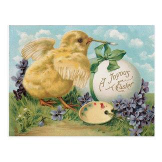 Vintage Kuiken die Paasei schilderen Briefkaart