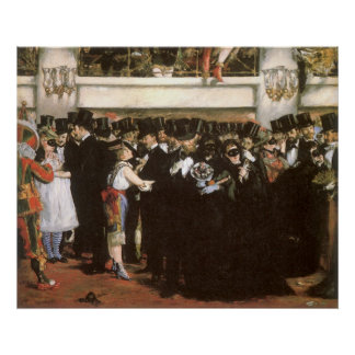 Vintage Kunst, Bal-masqué bij de Opera door Manet Poster