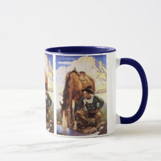Vintage Kunst, Cowboy die Zijn Paard water geven Mok