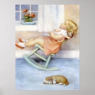 Vintage Kunst - Schattig Meisje Poster