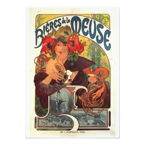 Vintage La Meuse van Bieres DE door Alphonse Mucha Persoonlijke Uitnodiging