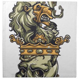 vintage leeuw op dode schedel servet