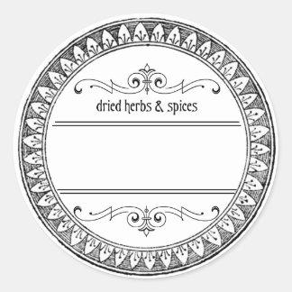 Vintage Lege Kruiden en de Etiketten van Kruiden Ronde Sticker