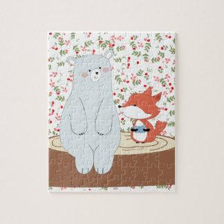 Vintage leuke de voswolf en teddybeer van de de legpuzzel