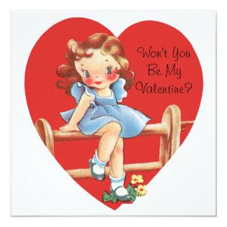 Vintage Leuke Valentijnsdag, Meisje op Omheining Kaart