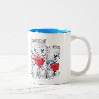 Vintage Leuke Valentijnsdag, Retro Katten van het Tweekleurige Koffiemok