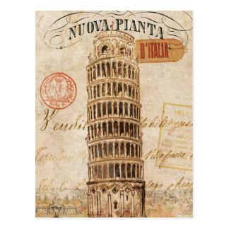 Vintage Leunende Toren van Pisa Briefkaart