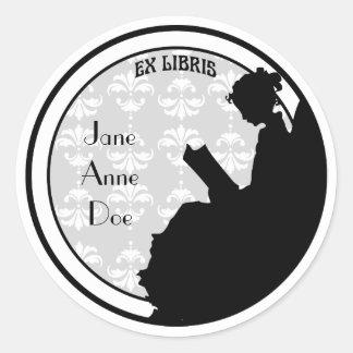 Vintage Lezing Bookplate van Dame Customized Ronde Sticker