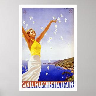 vintage ligure van santamargherita van reisposters poster
