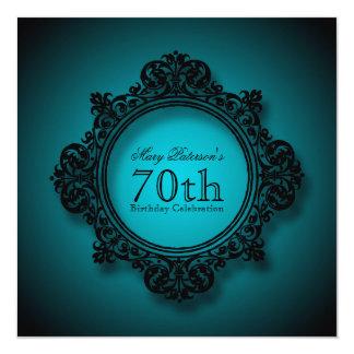 Vintage Lijst in Blauw - de 70ste Viering van de 13,3x13,3 Vierkante Uitnodiging Kaart