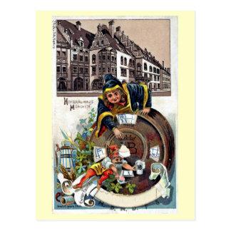 Vintage litho München Hofbrauhaus van 1905 Briefkaart