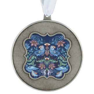 Vintage luxeHart met blauw vogels gelukkig patroon Tin Geschulpt Ornament