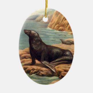 Vintage Mariene Zoogdieren, Zeeleeuw door de Kust Keramisch Ovaal Ornament