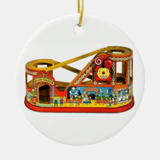 Vintage Mechanisch Speelgoed Rond Keramisch Ornament