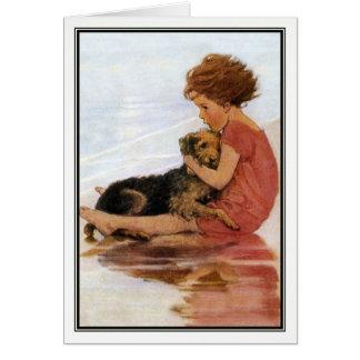 Vintage Meisje en Hond door Jessie Willcox Smith Wenskaart