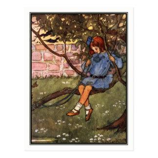 Vintage Meisje in Boom door Florence Harrison Briefkaart