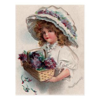 Vintage Meisje in het Briefkaart van de Bonnet