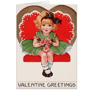 Vintage Meisje in het Wenskaart van Valentijn van