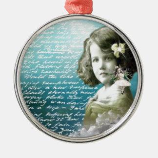Vintage meisje met beschermengel zilverkleurig rond ornament