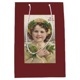 Vintage Meisje met Hulst Medium Cadeauzakje