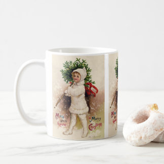 Vintage Meisje met Kerstboom, Ellen Clapsaddle Koffiemok